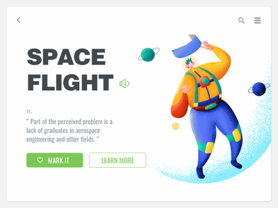 Space flight painting ui-design illustration ui