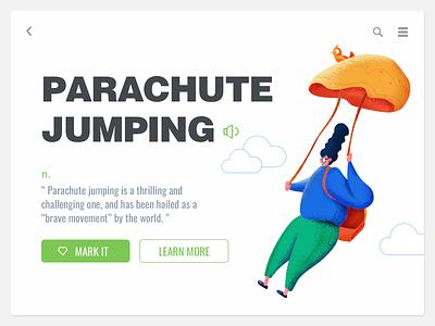 Parachute jumping illustration ui-design painting ui