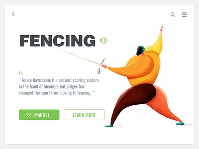 Fencing illustration ui-design painting ui