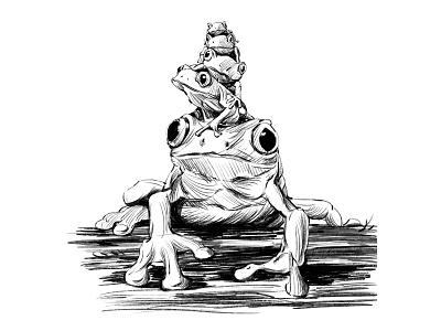 Frog illustration painting