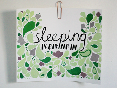 sleeping is giving in