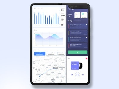 Samsung Galaxy Fold applicaiton mobile samsung galaxy samsung dashboard foldable fold multitasking multiwindow simple type app clean illustrator minimal illustration design