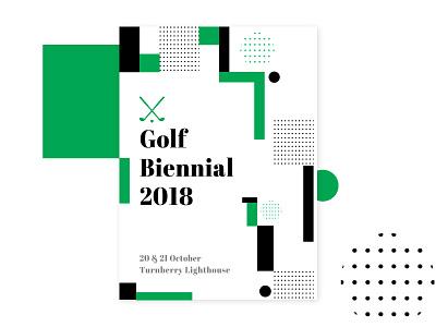 Golf Invite sport putter ball meadows lighthouse scotland grass minimal poster design invite golf