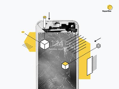 RepairBee design broken buzz lines illustration screen phone tech bee fix repair