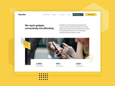 RepairBee Website website insect buzz bee yellow ux technicians tech mobile fix repair ui