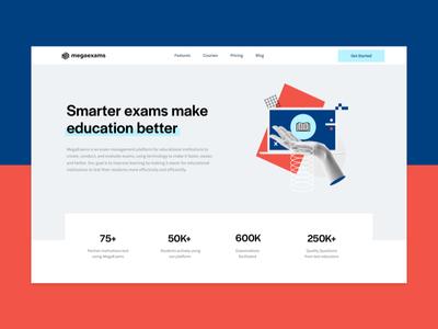 MegaExams Website teachers responsive animation interactions type students collage illustrations website exams ux ui