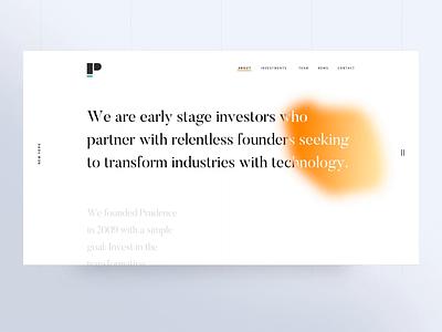 Prudence Website venture capital minimal design ux ui website