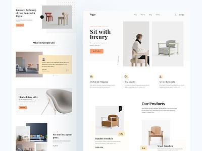 Piggo. - Furniture Website product design sofa furniture shop piggo product forniture ecommerce homepage best shot creative website web ui design concept clean