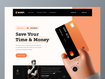 WORP. - Website Design ( Header Exploration) payment creditcard banking business worp banking website card header ux 3d illustration design website web ui creative clean best shot
