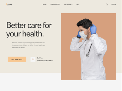 ICARE. - Medical Landing Page 🥰 landing page medical care clinic hospital health healthcare medical website medical doctor appointment doctor clean ui website best shot clean