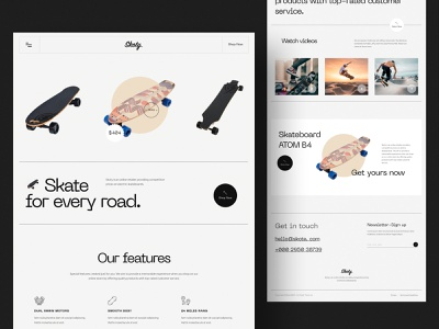 Skoty. Skateboard Landing Page 🛹 single product online product online shop ecommerce sports landingpage skateboard landing page skate skateboard design web ui website