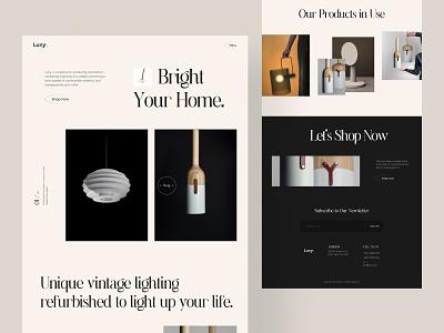 Luxy 🛋 design clean minimal ux online store landing page website web lighting light modern shop pandant store pendant shop online shop ecommerce shop ecommerce lamp product lamp