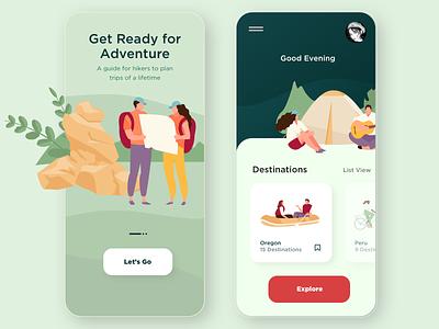 Hiking and Travel App Design hiking app travel app app design