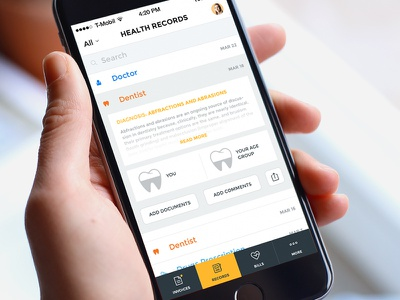 Health Records dentist doctor records health user experience user interface ios app