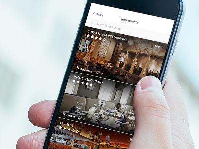 Browse Restaurants mobile app app user interface search list restaurants design ux ui