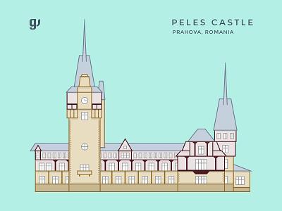 Peles Castle Illustration romania color line landmark artwork design peles line art castle illustration