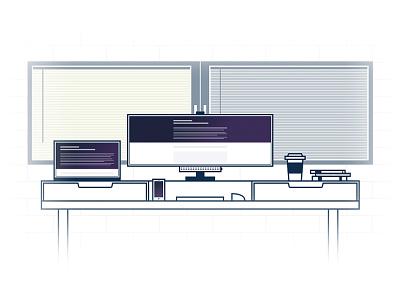 My Workplace window office ultrawide dell illustration line art workplace macbook setup desk
