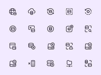 Myicons — Servers, Databases vector line icons