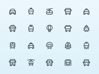Myicons — Transport vector line icons pack