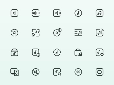Myicons — Sound, Music, Media vector line icons pack