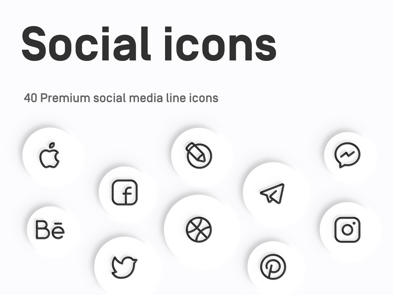 Myicons: Social, Media line Icons myicons icon ux ui icons line icons icon set icon collection icon design flat icons media icons social icons