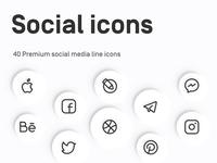 Myicons: Social, Media line Icons