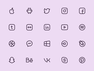 Myicons — Social, Media line icons