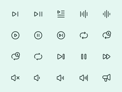 Myicons — Audio, Music line icons