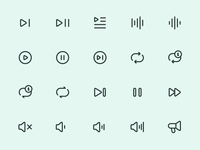 Myicons — Audio, Music line icons
