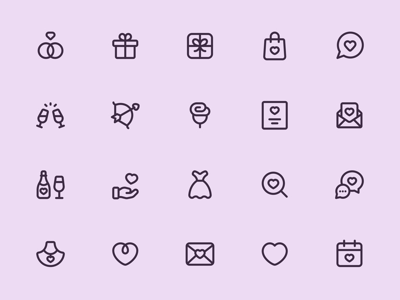 Myicons — Romance, Wedding, Valentine line icons essential icons icon pack ui kit icons set icons pack web designer web design icon design icons flat icons interface icons myicons line icons valentine icons wedding icons romance icons ui icons ui designer ui design ui