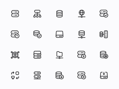 Myicons — Databases, Servers line icons