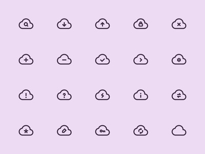 Myicons — Cloud vector line icons