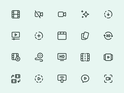 Myicons — Video, Movies line icons