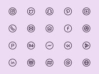 Myicons — Circle, Social, Media vector line icons