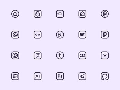 Myicons — Social, Media vector line icons