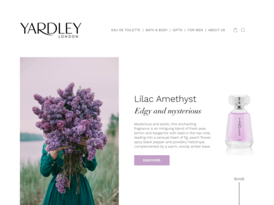 Landing page for Yardley