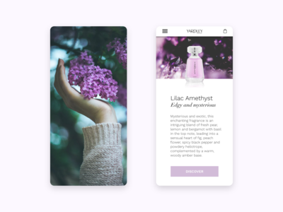 Landing page for Yardley Phone version