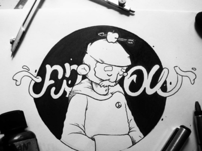 F R O W cartoon bnw fineart doodle
