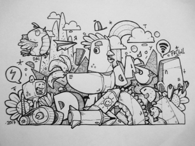 Doodle doodle fineart cartoon