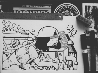 R U N doodle funart cartoon inking