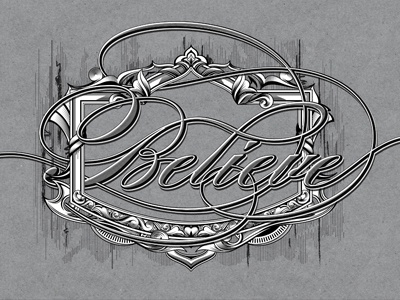 Believe 3d typography text effect retro vintage lettering custom type type ornaments frame