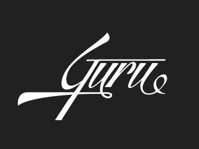 Guru typography text effect retro vintage lettering custom type logo logo design guru