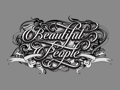 Beautiful People ornament floral vintage typography typo type retro lettering decorative