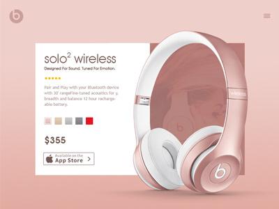 Beats headphone Design Concept 2 app interface website music audio concept typography headphone clean ui