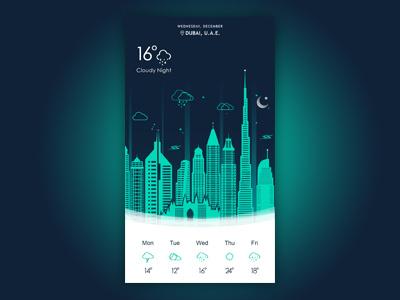 Night Weather App ux ui dubai weather night mobile widget illustration icons daily ui app
