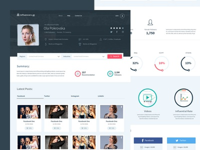 Influencers Profile Page ios layout printing responsive clean interaction homepage landing page webdesign website ux ui