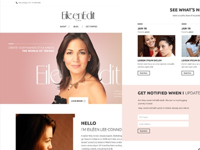 Beauty Fashion Bloger Page landing page. ios dubai interface web icons clean profile ux ui