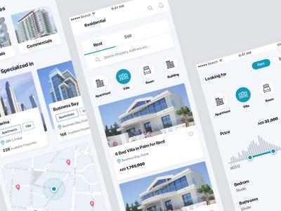 Property Mobile App property interface mobile flat icon dubai ios ui  ux design ux ui