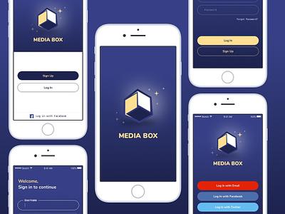 Media Box UI Kit illustration typography vector logo icon mobile app profile icons flat iphone dubai clean ios web interface ux ui