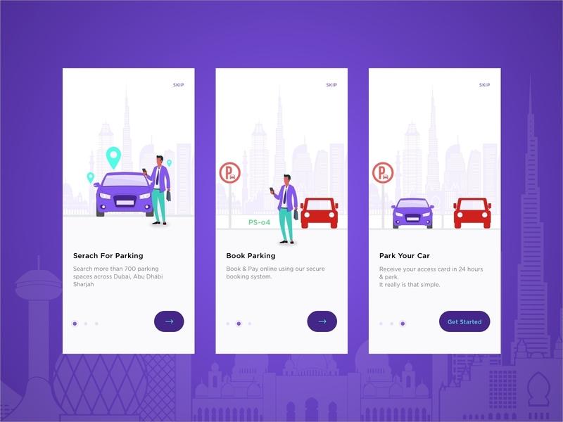 Car Parking App Walkthrough clean app interface design car app parking app illustration app design app flat clean ios web interface ux ui